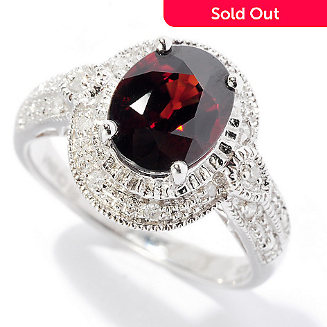 128-876 - Gem Treasures® Sterling Silver 2.07ctw Oval Brown Zircon & Diamond Ring