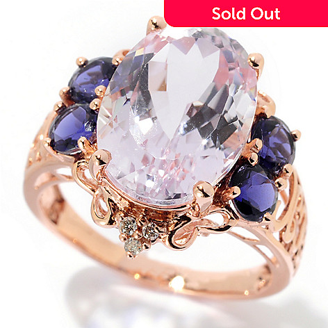 128-877 - Gem Treasures® 14K Rose Gold 6.47ctw Oval Kunzite, Iolite & Diamond Ring