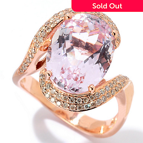128-879 - Gem Treasures® 14K Rose Gold 5.73ctw Oval Kunzite & Diamond Ring