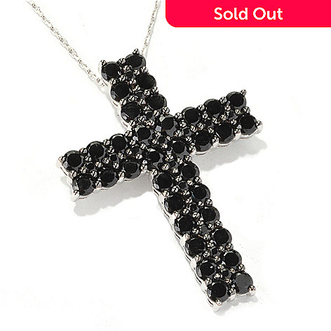 128-893 - Gem Treasures® Sterling Silver 17.75'' Two-Row Black Spinel Cross Pendant w/ Chain