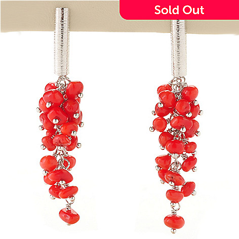 128-895 - Gem Insider Sterling Silver Red Coral Drop Earrings
