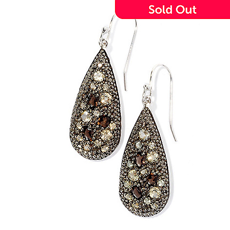128-899 - Gem Insider Sterling Silver 2.27ctw Smoky & Champagne Quartz Teardrop Earrings