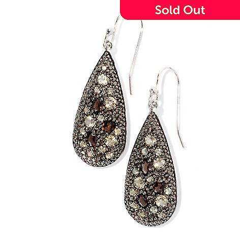 128-899 - Gem Insider™ Sterling Silver 2.27ctw Smoky & Champagne Quartz Teardrop Earrings