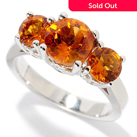 128-902 - Gem Insider® Sterling Silver Exotic Gemstone Three-Stone Ring