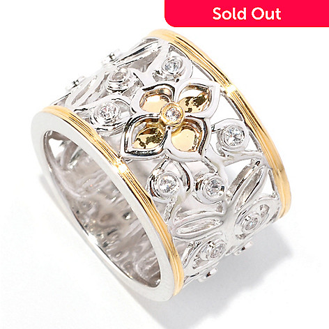 128-906 - Jordan Scott White Sapphire Floral Cut-out Wide Band Ring