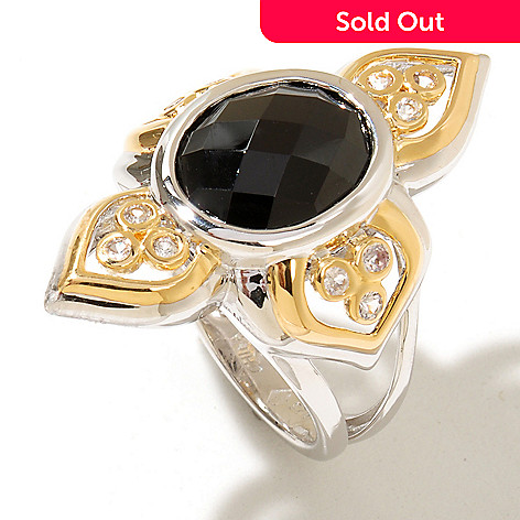 128-907 - Jordan Scott 12 x 10mm Black Spinel & White Sapphire Elongated Ring
