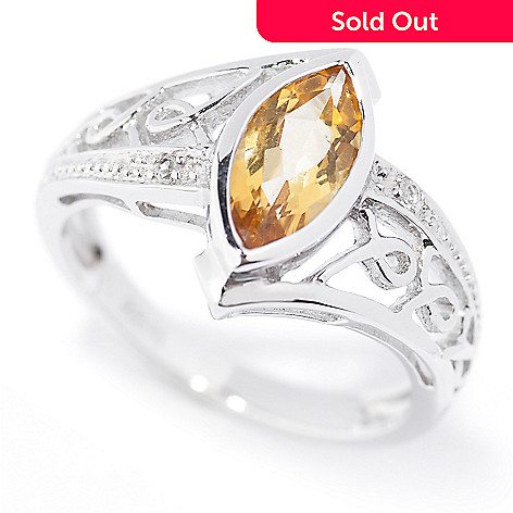 128-909 - Gem Insider™ Sterling Silver 10 x 5mm Marquise Shaped Citrine Ring