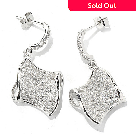 128-910 - Gem Treasures® Sterling Silver 1.5'' 2.98ctw White Topaz Wave Earrings