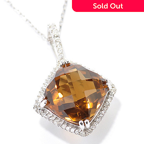 128-911 - Gem Insider Sterling Silver 14mm Cushion Cut Quartz & Topaz Pendant w/ Chain