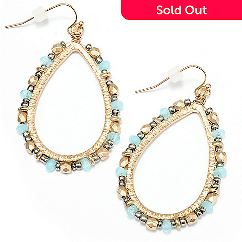 128-913 - Meghan Browne Style Gold-tone Beaded Teardrop ''Gwin'' Earrings
