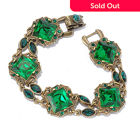 128-914 - Sweet Romance 7.5'' Green Crystal Art Deco Style Bracelet