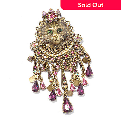 128-915 - Sweet Romance™ Multi Color Crystal Filigree Cat Pin