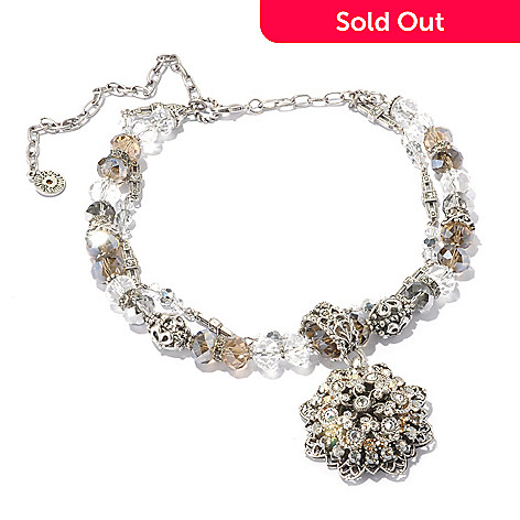 128-916 - Sweet Romance Silver-tone 15.5'' Crystal Bead ''Snowflake'' Necklace