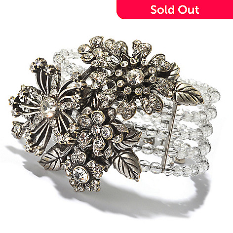 128-918 - Sweet Romance Silver-tone Beaded Crystal Corsage Flower Stretch Bracelet
