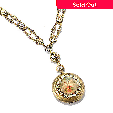 128-921 - Sweet Romance Gold-tone 26'' ''Las Palomas'' Locket Necklace