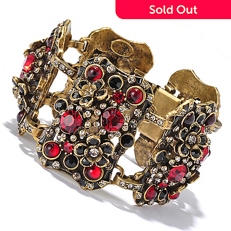 128-922 - Sweet Romance  Red & Black Crystal Link Bracelet