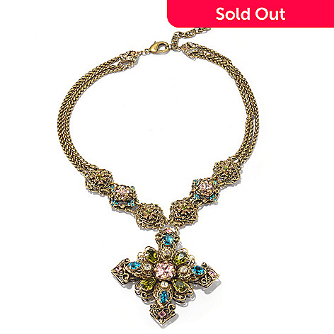 128-924 - Sweet Romance™ 17'' Gold-tone Renaissance Style Cross Necklace