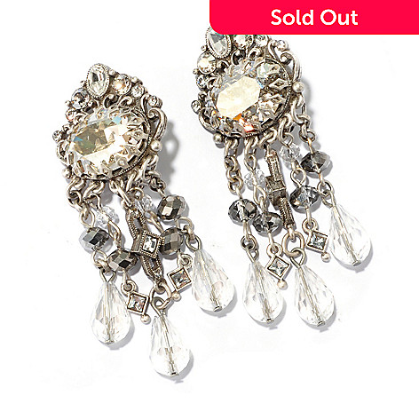 128-925 - Sweet Romance 2.5'' Crystal Encrusted Art Deco-Inspired Clip-on Dangle Earrings