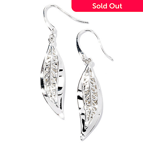 128-938 - Kit Heath Sterling Silver Polished ''Oasis Fern'' Drop Earrings