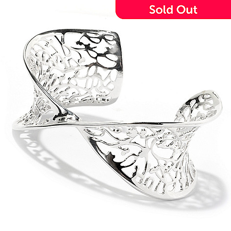128-941 - Kit Heath Sterling Silver 6.75'' Polished  ''Lattice Flourish'' Cuff Bracelet