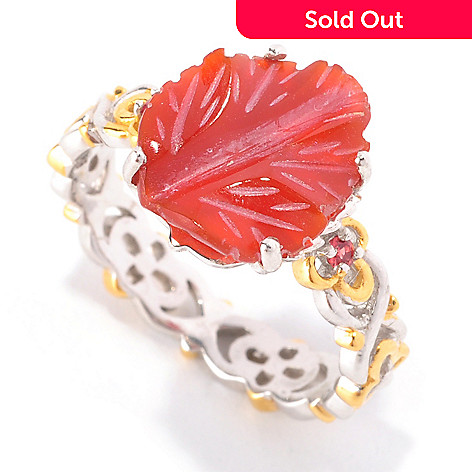 128-946 - Gems en Vogue 12 x 10mm Carved Red Agate & Orange Sapphire Stack Band Ring