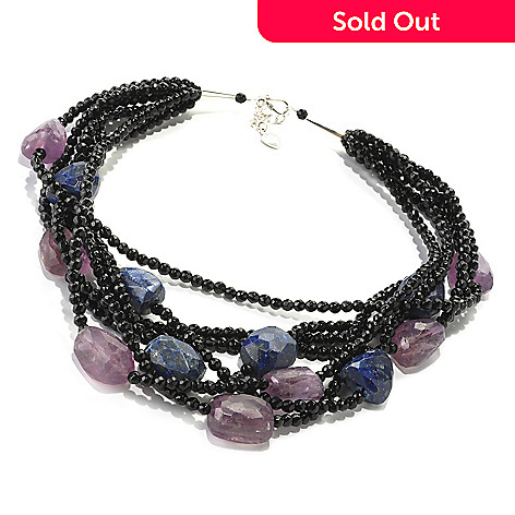 128-951 - Gem Treasures Sterling Silver 18'' Agate, Lapis & Amethyst Multi Strand Necklace