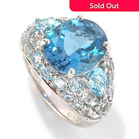 128-956 - Gem Insider™ Sterling Silver 7.60ctw London Blue & Multi Color Topaz Ring