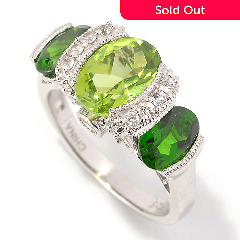 128-957 - Gem Insider™ Sterling Silver 3.18ctw Peridot, Chrome Diopside & Sapphire Ring