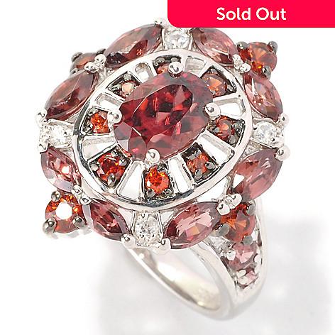 128-959 - Gem Insider Sterling Silver 2.80ctw Red, Mocha & White Zircon Ring