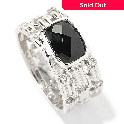128-960 - Gem Insider™ Sterling Silver 1.24ctw Black Spinel & White Sapphire Ring