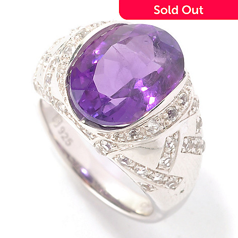 128-963 - Gem Insider Sterling Silver 4.57ctw Oval Dark Amethyst & White Topaz Ring