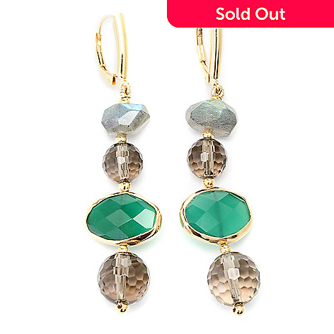 128-965 - Gems of Distinction Labradorite, Smoky Quartz & Green Onyx Earrings