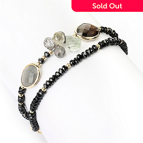 128-969 - Gems of Distinction Black Spinel & Multi Gemstone Wrap Bracelet
