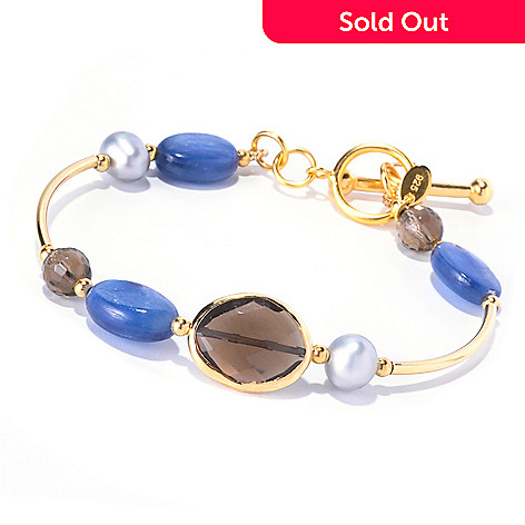 128-970 - Gems of Distinction Kyanite, Smoky Quartz & Cultured Pearl Bracelet
