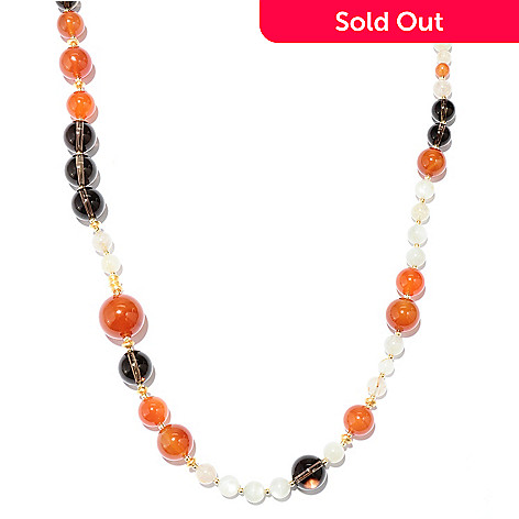 128-971 - Gems of Distinction 36'' Carnelian, Multi Quartz & Moonstone Beaded Necklace