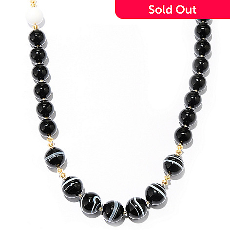 128-972 - Gems of Distinction 36'' Black Onyx & Multi Gemstone Beaded Necklace