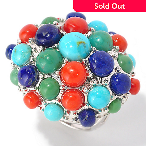 128-973 - Gem Insider™ Sterling Silver Turquoise, Coral & Lapis East-West Oval Bubble Ring