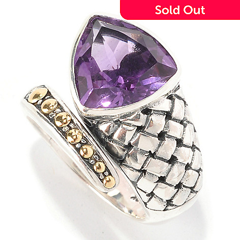 128-975 - Artisan Silver by Samuel B. 5.00ctw Amethyst Trillion Bypass Ring