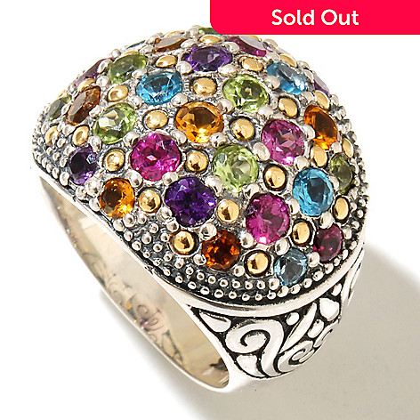 128-976 - Artisan Silver by Samuel B. 2.55ctw Multi Gemstone Dome Ring