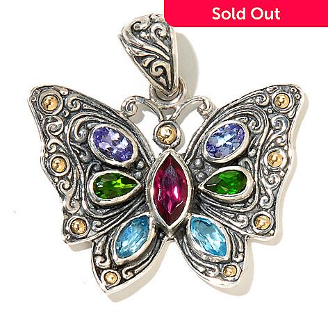 128-977 - Artisan Silver by Samuel B. 2.20ctw Multi Gemstone Butterfly Pendant