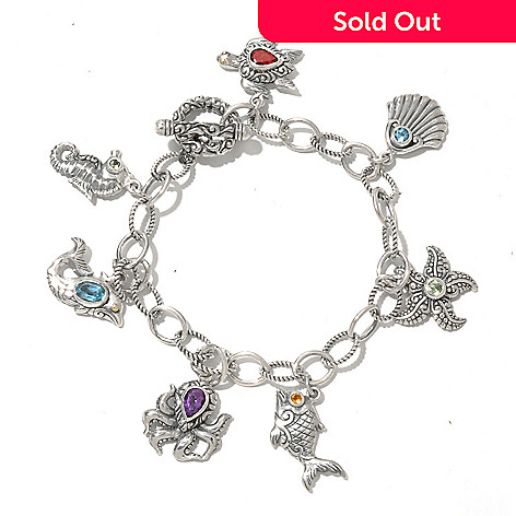 128-980 - Artisan Silver by Samuel B. 7.25'' Multi Gem Sea Life Charm Bracelet