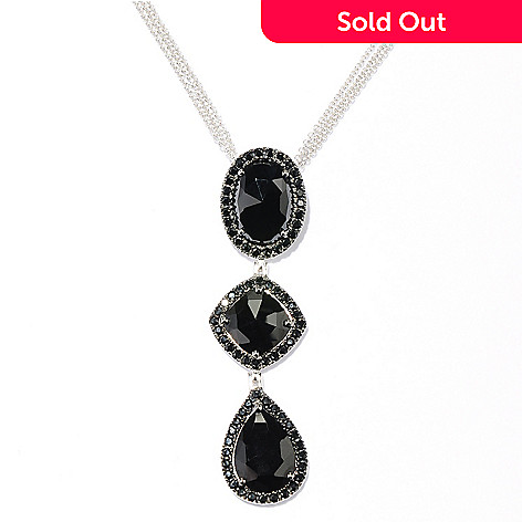128-988 - NYC II 8.60ctw Black Spinel Three-Drop Pendant w/ 18'' Triple Chain