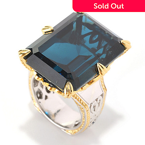 128-989 - Gems en Vogue 50.04ctw London Blue Topaz & Sapphire ''New Yorker'' Ring