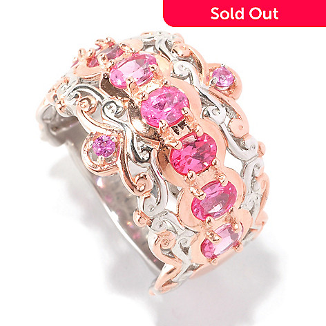 128-993 - Gems en Vogue 1.16ctw Pink Spinel & Pink Sapphire Band Ring
