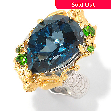 128-998 - Gems en Vogue 13.88ctw London Blue Topaz & Chrome Diopside Mermaid Ring