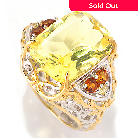 129-000 - Gems en Vogue 16 x 12mm Amber, Madeira Citrine & Yellow Sapphire Ring