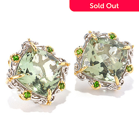129-004 - Gems en Vogue 15.76ctw Prasiolite & Chrome Diopside Stud Earrings