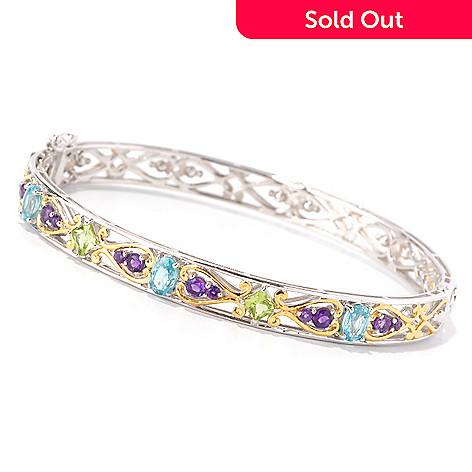 129-005 - Gems en Vogue II 3.34ctw Peridot, Blue Zircon & Amethyst Hinged Bangle Bracelet