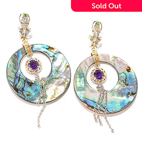 129-006 - Gems en Vogue 40mm Abalone, Amethyst & Chrome Diopside 3.25'' Drop Earrings
