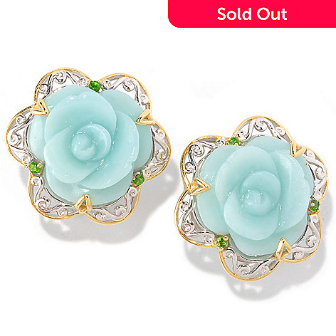 129-008 - Gems en Vogue II 18mm Carved Amazonite & Chrome Diopside Flower Earrings